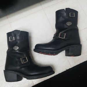 Buckles Davidson Black Leather Boots Zipper Harley dCBxero
